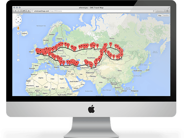 SMS Travel Map Online locationtracking travel map updated via SMS – Travel Tracking Map